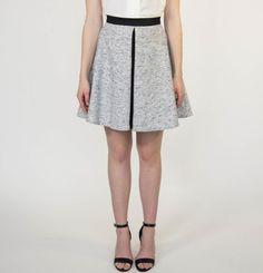 marigold-leo-grey-skirt Professional Look, Gray Skirt, Marigold, Flare Skirt, Tweed, Long Sleeve Tops, Leo, Blazer, Casual