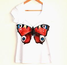 Butterfly handpainted woman tshirt  colorful by Dariacreative, $35.00