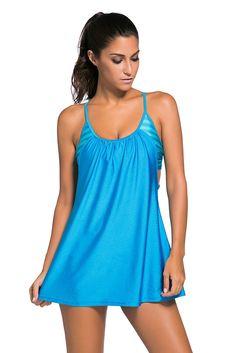 Flattering Blue Flowing Swim Dress Layered One Piece Tankini Top