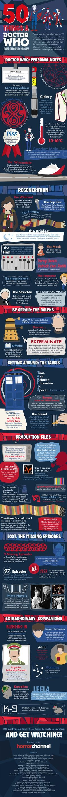 50 things a Doctor Who Fan Should Know #infographic #TelevisionSeries #DoctorWho