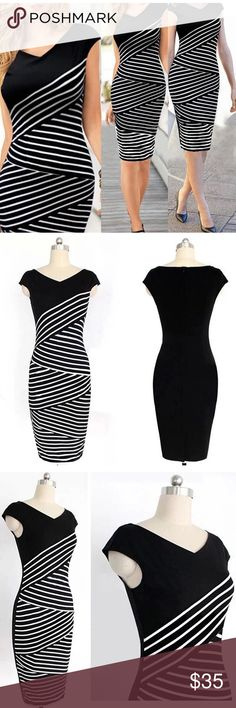 Brand new dress Gorgeous brand new black and white dress. Fitted and flattering.  Currently available in small, medium, large. Please specify size when ordering Dresses