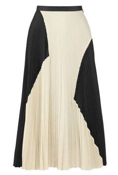 proenza schouler color-block pleated cloqué midi skirt.
