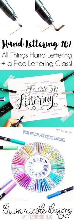 Hand Lettering 101   A guide to all things hand lettering and calligraphy + a free class and practice sheets! http://DawnNicoleDesigns.com