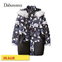 Dabuwawa Black Winter Warm Printed Womens Jackets And Coats Casual Down Coat With Real Fur Coat Parka