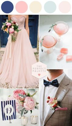"Blush Meets Blue And They Say ""I Do"" (palette de bleu et rose pour mariage) Wedding Themes, Wedding Styles, Wedding Decorations, Wedding Dresses, Summer Wedding, Dream Wedding, Wedding Day, Wedding Color Schemes, Wedding Colors"
