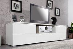 Stolik Tv Sam biała szafka RTV pod telewizor lakierowana na wysoki połysk 160 cm