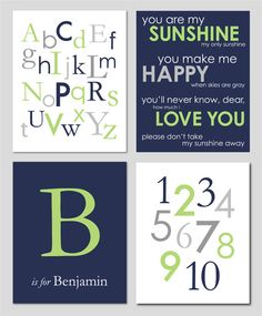 Baby Boy Nursery Gray Apple Green and Navy Alphabet by karimachal