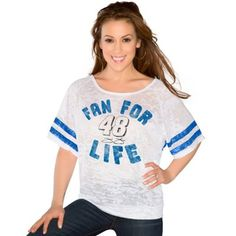 Touch by Alyssa Milano Jimmie Johnson Ladies Fan For Life Batwing Burnout T-Shirt - White