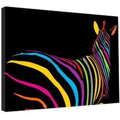 Funky Zebra Modern Canvas Picture Wall Art Print