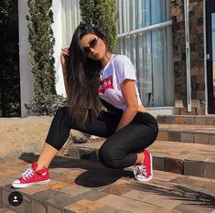 Pin by Fadhli on My style liking in 2020 Cool Girl Outfits, Simple Outfits, Summer Outfits, Emo Outfits, Disney Outfits, Hummer, Converse Rouge, Red Vans Outfit, Mustang Girl