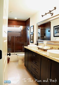 Pros: The wood (look) in the shower, the cabinets, hadware, faucets, counter top, mirror.  Cons: Light fixture, and the rest shower related (prefer no tub, shower is small, rather have a rain fall showerhead).