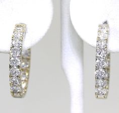 Cubic Zirconia Inside-Out Hoop Earrings in 14K White Gold #Hoop