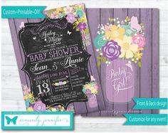 Butterfly Garden Invitation - Printable, DIY, Baby Shower Invite, Butterflies, Lavender, Purple, Mason Jar, Chalkboard #124 purple white