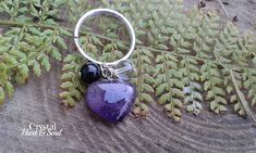 Amethyst heart pet collar charm Amethyst crystal charm for Amethyst Crystal, Crystal Beads, Crystals, Pet Charm, Yang Energy, Pet Collars, Pouch Bag, Clear Quartz, Handcrafted Jewelry