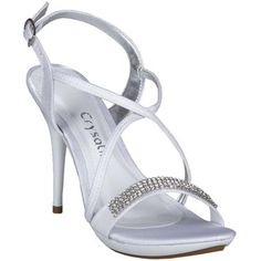 Sandália Crysalis Branca com Strass #Noivas #Casamento #Sapatos #Love #Shoes #Trends #Style #Fashion