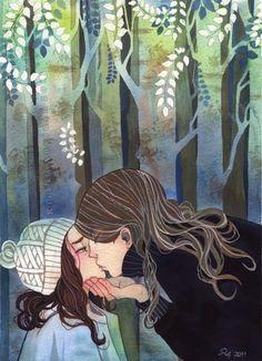 arts,art,female,forest,illustration,kiss-1d5df52392d15fe9d43e95dfce9605c5_h.jpg (361×500)