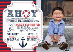 Nautical 1st Birthday Invitation Anchor Sailor by MarkedbyMonica