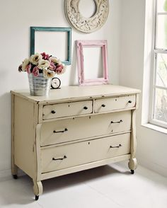 I don't have anything to paint right now. So I'll just post this sweet little 1800s empire dresser I painted awhile back. Happy Thursday!!