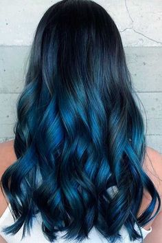 Are you looking for dark blue hair color for ombre and teal? See our collection full of dark blue hair color for ombre and teal and get inspired! Dark Blue Hair, Blue Ombre Hair, Long Black Hair, Hair Color Blue, Cool Hair Color, Blue Tips Hair, Dyed Hair Blue, Black Hair With Blue, Black Hair Blue Highlights