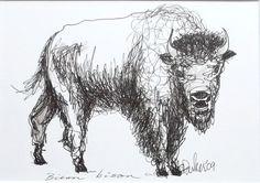 Buffalo bison drawing original ink illustration by ArtyDidact