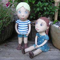 Prodané zboží uživatele Kočida   Fler.cz Ooak Dolls, Garden Sculpture, Pottery, Board, Outdoor Decor, Ceramic Painting, Hair And Beauty, Angels, Baby Dolls