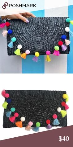 🌴COMING SOON! Black Pom Pom Clutch Super adorable clutch from T&J designs!! Materials: straw. Made in China. Price is firm! Thanks 💕 T&J Designs Bags Clutches & Wristlets