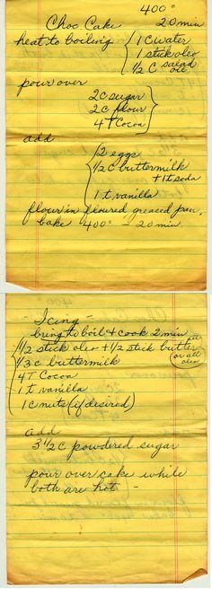 Chocolate Cake and Icing ~ Old recipes handwritten on paper that is torn and has evidence of the ingredients splattered all about . Tried and true. Cupcake Frosting, Cake Icing, Eat Cake, Cupcake Cakes, Cupcakes, Retro Recipes, Old Recipes, Vintage Recipes, Best Chocolate Cake