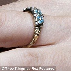 I just treasure this ring. Antique enameled Forget-Me-Nots. A beautiful and sweet alternative to a traditional engagement ring.