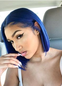 Preferred Hair Blue Hair Wig of Human Hair with Baby Hair Brazilian Ombre Lace Front Wig Short Bob Wigs for Women Frontal Hairstyles, Bob Hairstyles, Violet Rouge, Brazilian Lace Front Wigs, Brazilian Hair, Curly Hair Styles, Natural Hair Styles, Blue Natural Hair, Short Bob Wigs