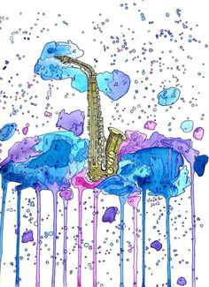 Original Watercolour saxophone painting by VlaDePas on DeviantArt