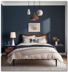 Navy Blue Bedroom Furniture - Maybe you're getting married or maybe you're t.Navy Blue Bedroom Furniture - Maybe you're getting married or maybe you're t. Dark Accent Walls, Accent Wall Bedroom, Blue Bedroom, Trendy Bedroom, Modern Bedroom, Master Bedroom, Bedroom Simple, Minimalist Bedroom, Queen Bedroom