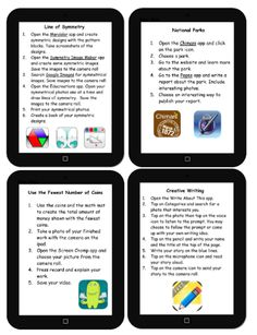 4 iPad Centers (FREE Editable Download): http://www.teachertreasures.com/iPad_Centers.html