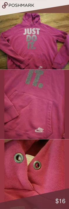 """Nike women's just do it large pink hoodie NIKE WOMEN'S 'JUST DO IT' HOODIE IN GREAT CONDITION. SIZE LARGE. NO HOLES OR MARKINGS.  ARMPIT TO ARMPIT MEASURE 22"""" AND 26"""" IN LENGTH Nike Tops Sweatshirts & Hoodies"""