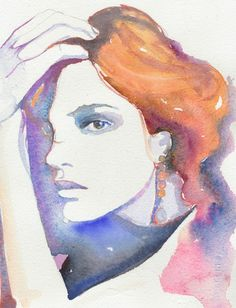 watercolour fashion Illustration - mini modelink.  silverridgestudio.