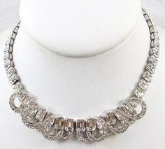 Eisenberg Rhinestone Baguette Necklace - Garden Party Collection Vintage Jewelry