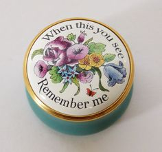 HALCYON DAYS Enamels WHEN THIS YOU SEE REMEMBER ME Round TRINKET POT Patch BOX