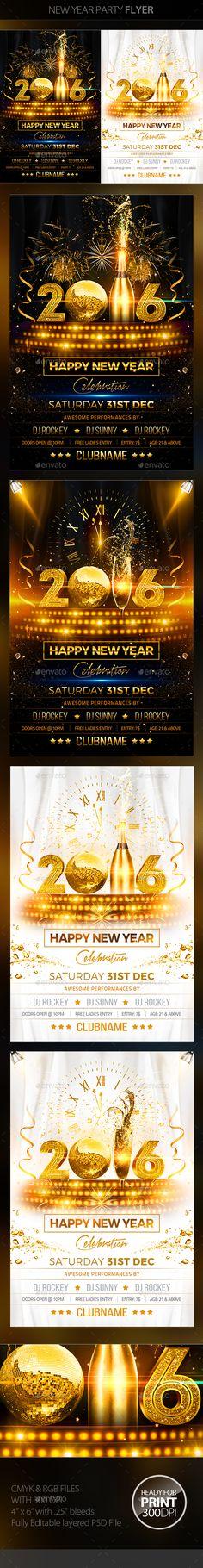 New Years Eve Bash Modello di volantino, Anno nuovo e Volantini - calendar flyer template
