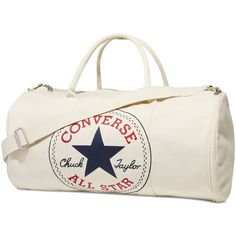 Converse Graphic Duffel Bag – white (3,985 INR) ❤ liked on Polyvore featuring bags, luggage and white