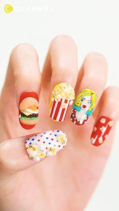 Cartoon Nail Designs, Nail Art Designs Videos, Cute Nail Art Designs, Nail Art Videos, Soft Nails, Simple Nails, Food Nail Art, 3d Acrylic Nails, Asian Nails