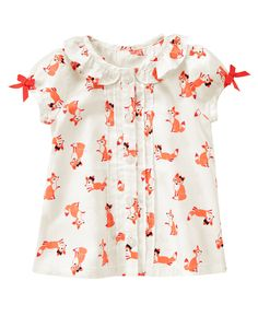 Fox Print Top at Gymboree Toddler Outfits, Baby Outfits, Kids Outfits, Cute Outfits, My Baby Girl, Girly Girl, Little Girl Fashion, Kids Fashion, Fox Print