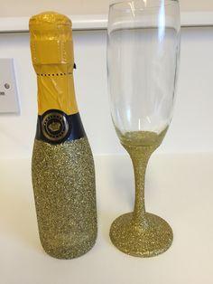 Champagne bottle and flute I glittered for birthday gift