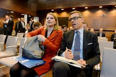 Mari Kiviniemi (Centre), a deputy secretary-general at the OECD, and Alexander Stubb (NCP), the Minister of Finance, sat alongside each other at the launch event of the OECD's latest economic survey of Finland in Helsinki on 28 January, 2016.