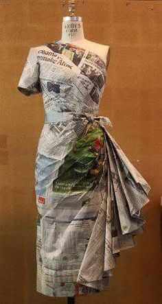 dress forms like this can be found at Mannequin Madness so you can create paper . dress forms like this can be found at Mannequin Madness so you can create paper dress designs Paper Fashion, Origami Fashion, Fashion Art, Fashion Show, Fashion Design, Dress Fashion, Recycled Costumes, Recycled Dress, Recycled Clothing