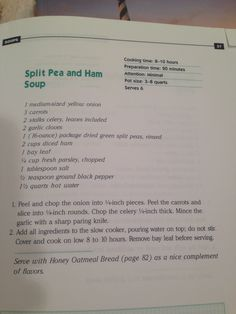 Slow Cooker Split Pea and Ham Soup - from The Everything Slow Cooker Cookbook