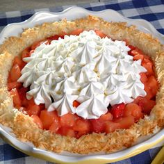Apple Pearadise Pie | Meals.com -  This tasty combination of a chewy coconut crust, apples, strawberries and pears filling is one sweet treat. Serve with a dallop of whipped cream. #ApplePie #Pear #ApplePearadisePie