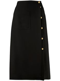 Shop online black Gucci GG button midi skirt as well as new season, new arrivals daily. Black Midi Skirt, Dress Black, Mode Purple, Gucci Outfits, Haute Couture Fashion, High End Fashion, Couture Collection, High Waisted Skirt, Black Beauty