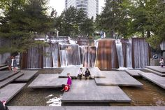 Ira Keller Forecourt Fountain, part of the Portland Open Space Sequence in Oregon Lawrence Halprin Landscape Cultural Architecture, School Architecture, Landscape Architecture, Architecture Design, Urban Landscape, Landscape Design, City Landscape, Lawrence Halprin, Houston Parks