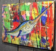 SWORD FiSH~painting Maine FOLK ART outsider~COASTWALKER