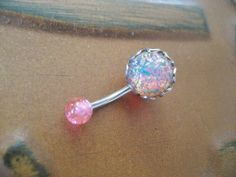 Pink Fire Opal Belly Button Jewelry Ring Stud- Navel Piercing Stone Bar Barbell on Wanelo