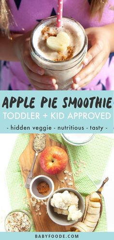 Apple Pie Smoothie for Toddler + Kids (hidden veggie! Toddler Smoothies, Veggie Smoothies, Smoothie Recipes For Kids, Smoothies For Kids, Detox Recipes, Healthy Store Bought Snacks, Healthy Lunches For Kids, Kids Meals, Baby Meals